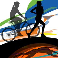 Triathlon marathon women swimming cycling and running sport silh