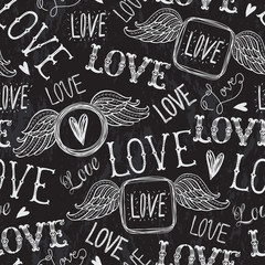 Seamless pattern of words. Love. Freehand drawing. Chalkboard style