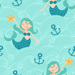 Seamless pattern with mermaids. Freehand drawing