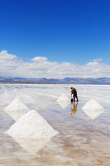 Man collecting salt, Salir de Uyuni, salt flats, Bolivia, South America