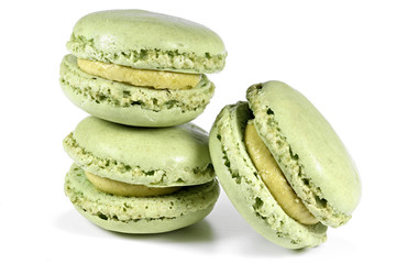 macarons with pistachio flavor isolated on white background