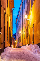 Winter narrow street in the Old Town in Stockholm, Sweden