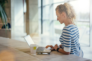 Young woman in striped T-shirt sitting and uses laptop. Nearby is cup of coffee, smartphone. Girl browsing internet, chatting, blogging, checking email. Online shopping, learning.Window on background.