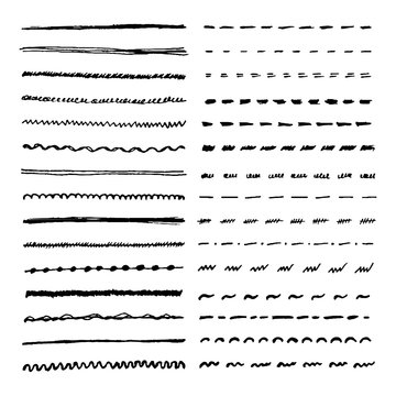 Set of hand drawn lines. Vector dotted, zigzag, wavy and straight lines for brushes