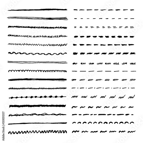 Drawing Straight Lines With Brush In Photo : Quot set of hand drawn lines vector dotted zigzag wavy and
