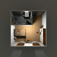 3d interior rendering of illuminated hotel room apartment by night