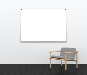 3d interior rendering of interior scene with fabric armchair and nailed blank poster frame