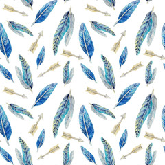 hand painted watercolor seamless pattern with blue feathers and arrows isolated on white. Native Americans tribal style original background