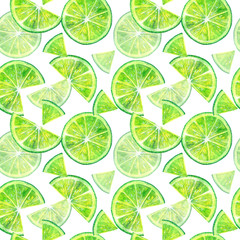 Seamless pattern of a lemon lime.Fruit picture.Watercolor hand drawn illustration.White background