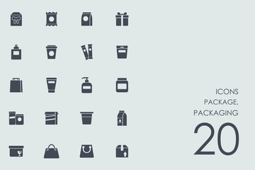 Set of package, packaging icons
