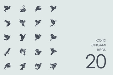 Set of origami birds icons