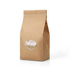 Brown craft paper groats bag packaging template with stitch sewing isolated on white background. Packaging template mockup collection. With clipping Path included. Stand-up pouch Front view package