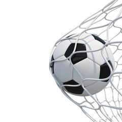Soccer ball in net on white background.