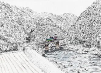ローカル線・雪景色