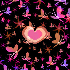 Silhouettes of the heart in a whirl of flowers and butterflies, a symbol of love, vector