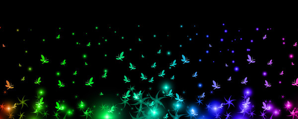 Silhouettes of iridescent butterflies rising to the heavens with the mystical colors, background, vector
