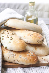 french baguettes on cloth