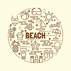 beach minimal thin line icons set
