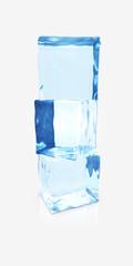 Three ice cubes on gray background