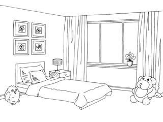 Children room graphic black white interior sketch vector