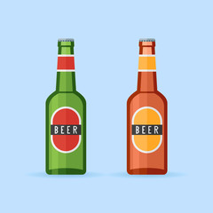 Green and brown beer bottles with labels isolated on blue background. Flat style icon. Vector illustration.