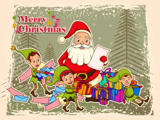 Santa Claus with Elf for Merry Christmas holiday celebration background