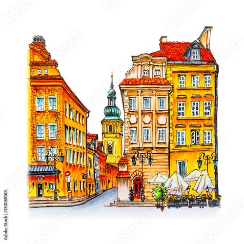 Color Hand Drawing Castle Square Piwna Street And Bell Tower Of St Martins