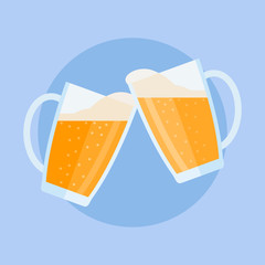 Clinking beer glasses with foam on blue background. Flat style vector illustration.