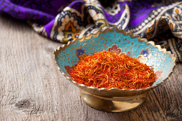 saffron in a metal bowl