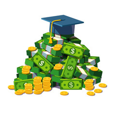 Student hat lying on a big pile of money