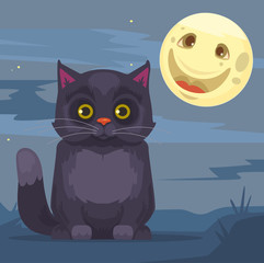 Black cat and moon characters. Vector flat cartoon illustration