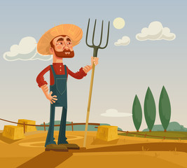 Happy farmer character and farm. Vector flat cartoon illustration