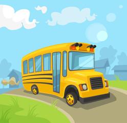 Yellow school bus. Vector flat cartoon illustration