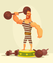 Athlete strong man character holding dumbbell. Vector flat cartoon illustration