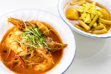 shrimp or prawn massaman curry and Yellow Curry with crab, Thai food.