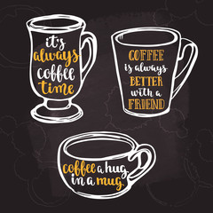 Lettering on cup shape set. Coffee quote.