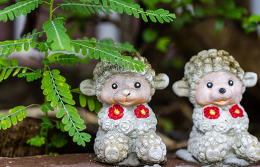 Monkey doll sculpture decorat in garden