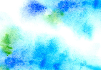 Blue and green watery frame .Abstract watercolor hand drawn illustration.Azure splash.White background.