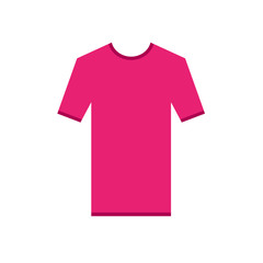 Pink purple fuchsia tshirt simple Icon. T-Shirt short sleeve with ribbons contour, Mockup for design. Simplified shirt. Web ready Template vector illustration.