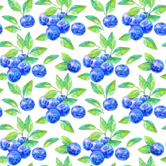 Seamless pattern of a blueberry.Forest berry.Watercolor hand drawn illustration.White background.