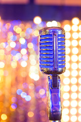 retro microphone on the background bokeh