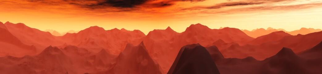Keuken foto achterwand Rood paars Martian landscape. Mars. Panorama sunset on Mars.