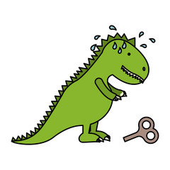 Toy dinosaur icon. Childhood play fun cartoon and game theme. Isolated design. Vector illustration
