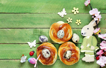 Homemade pastries, muffins, sweet buns for Easter treats