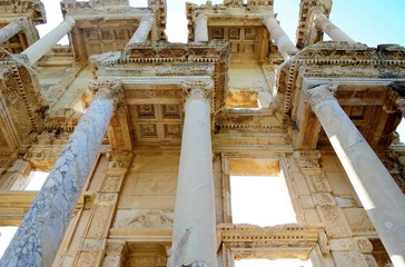 Great library of Celsius in Ephesus, Turkey / One of the most popular attractions of Turkey are ruins located near the Aegean coast, the ancient city of Ephesus (Efes)