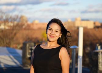 Confident hispanic businesswoman