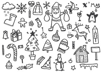vector set of Christmas drawn doodles in black line on a white background