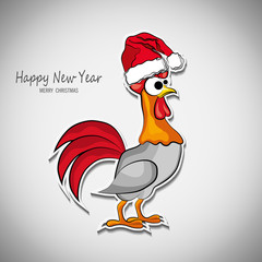Design for a New Year's greeting 2017 with  rooster symbol