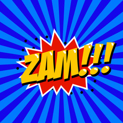 Zam! Comic style phrase on sunburst background. Design element for poster, t-shirt. Vector illustration.