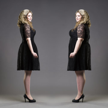 After before loss weight concept, plus size and slim models in black dresses on gray background